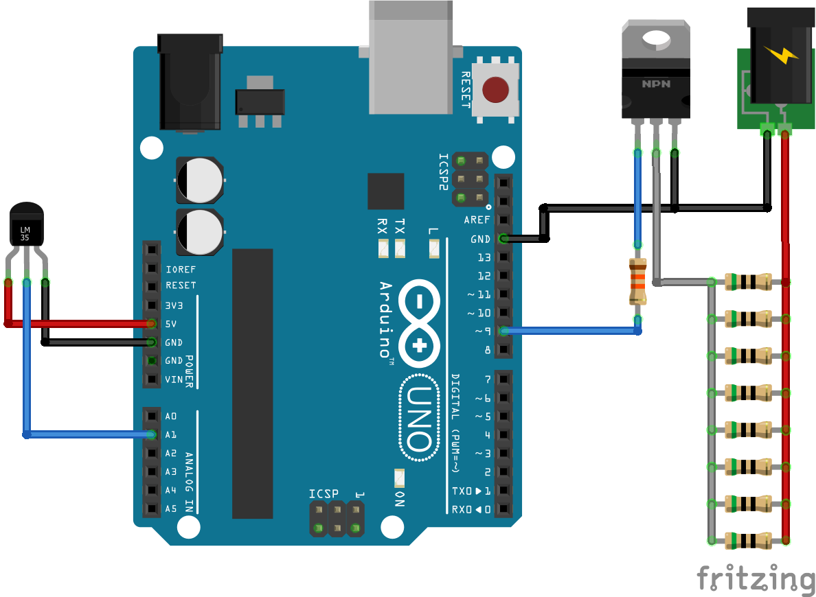 How To Build A Heater With Arduino Part 2 Alan Zucconi Circuit Diagram Of Induction Remember That In Order For This Design Work You Have Keep The Temperature Sensor Close Heating Elements